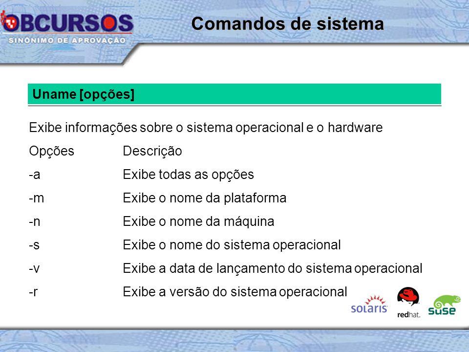Comandos de sistema Uname [opções]